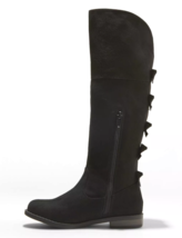 Cat & Jack Black Faux Suede Leora Zipper Ankle Riding Boots image 2