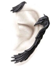 Raven Hug Ear-wing Black Left Ear Wrap Cuff Gothic Earring E355 Alchemy Crow - $26.95