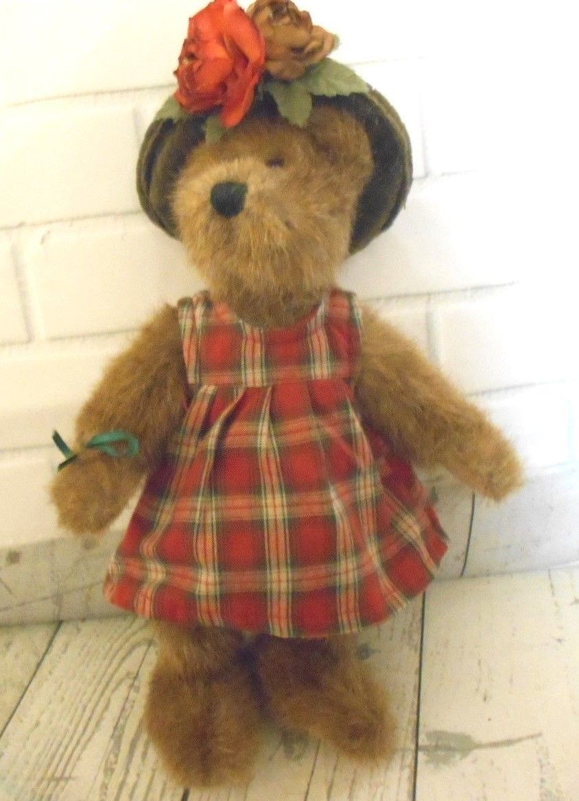 Boyds Collection 1988-2000 Articulated Mohair Bear 11 inch Plaid Dress Green Hat - $12.53