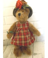 Boyds Collection 1988-2000 Articulated Mohair Bear 11 inch Plaid Dress G... - $12.53