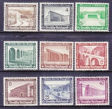 1936 Modern Architecture Set of 9 Germany Stamps Catalog Number B93-101 MNH