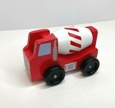Melissa & Doug Construction Vehicle Cement Truck #0656 Wood Rolls Well Red White - $6.76