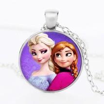 SUTEYI Newest Silver Necklace Elsa Anna Olaf Cartoon Jewelry Round Pendant Choke - $8.03