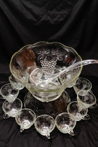 Vintage Anchor Hocking Punch Bowl Set Grapevine Service for 12  600/75A - $74.83