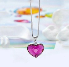 5.00 CT Pink Amethyst Birthstone Heart Necklace in 18K White Gold ITALY ... - $9.79