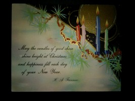 Art Deco Christmas Cards 1930's Candles Holly - $10.00
