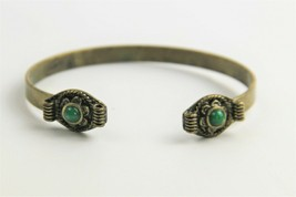 "7.5"" VINTAGE Jewelry EARLY MID 1900's BOHO TRIBAL CUFF CABOCHON BRACELET - $15.00"