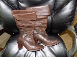 FRYE Dorado Slouch Boots 77580  Fold-Over Cuff Dark Brown Leather Size 6.5 HTF - $3.079,06 MXN