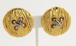 ESTATE Jewelry FUNKY RETRO 1980's VINTAGE LARGE FIGURAL BUTTON CLIP EARR... - $10.00