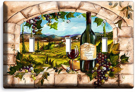 Tuscan Kitchen Window Vineyard Wine Grapes 3 Gang Light Switch Wall Plates Decor - $14.57