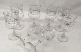 Set of 8 Crystal Wine Glasses with White and Silver Roses Design image 2