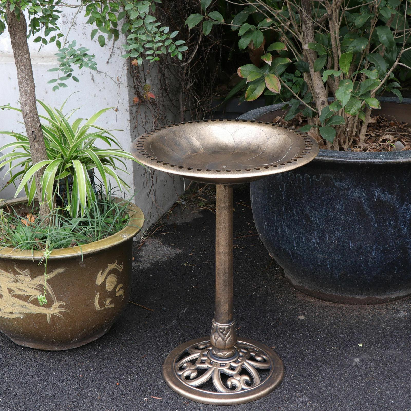 "28"" Height Birdbath Pedestal Bird Bath Outdoor Garden Decor Vintage Yard Art"