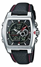 CASIO Edifice Square Black Dial Analog Digital Mens Watch Japan with Tra... - $126.89 CAD