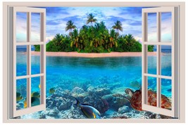 Tropical Island Sea Turtle Window View Wall 3D Decal Graphic Sticker Mur... - $6.92+
