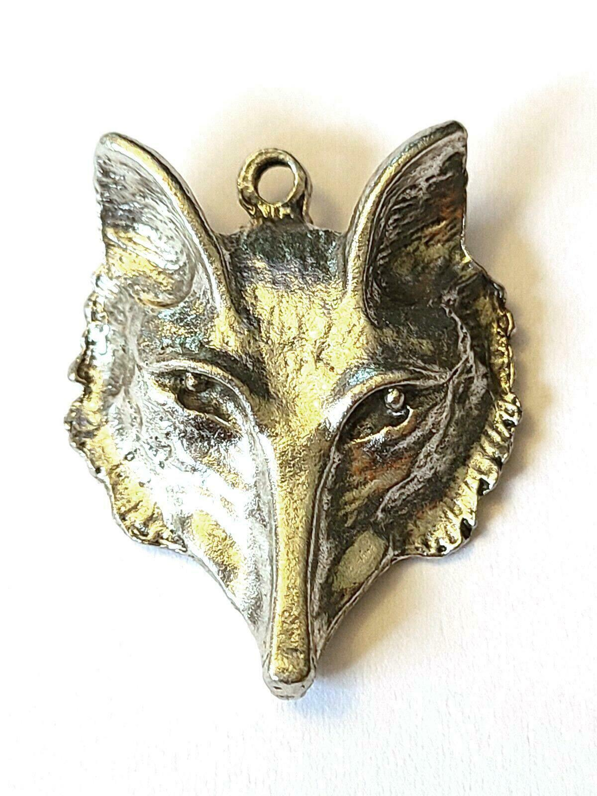 Wolf Fine Pewter Pendant /  Charms  - Approx. 1 1/8 Inches Tall  (T187)