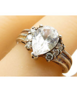 925 Sterling Silver - Vintage Cubic Zirconia Tear Drop Accent Ring Sz 8 ... - $30.58