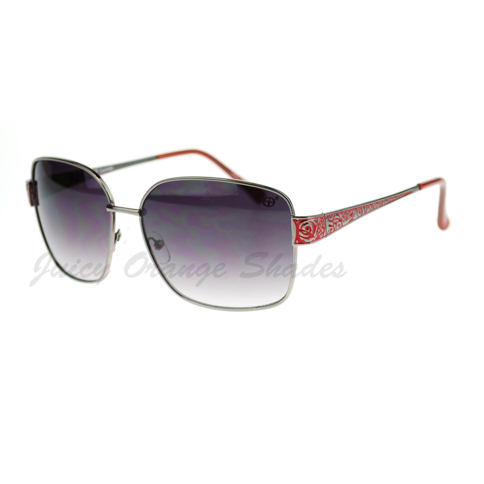 Womens Square Metal Frame Sunglasses Chic Stylish Fashion