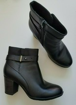 Clarks Collection Enfield Sari Ankle Boots Leather Black Size Zipper Siz... - $64.99