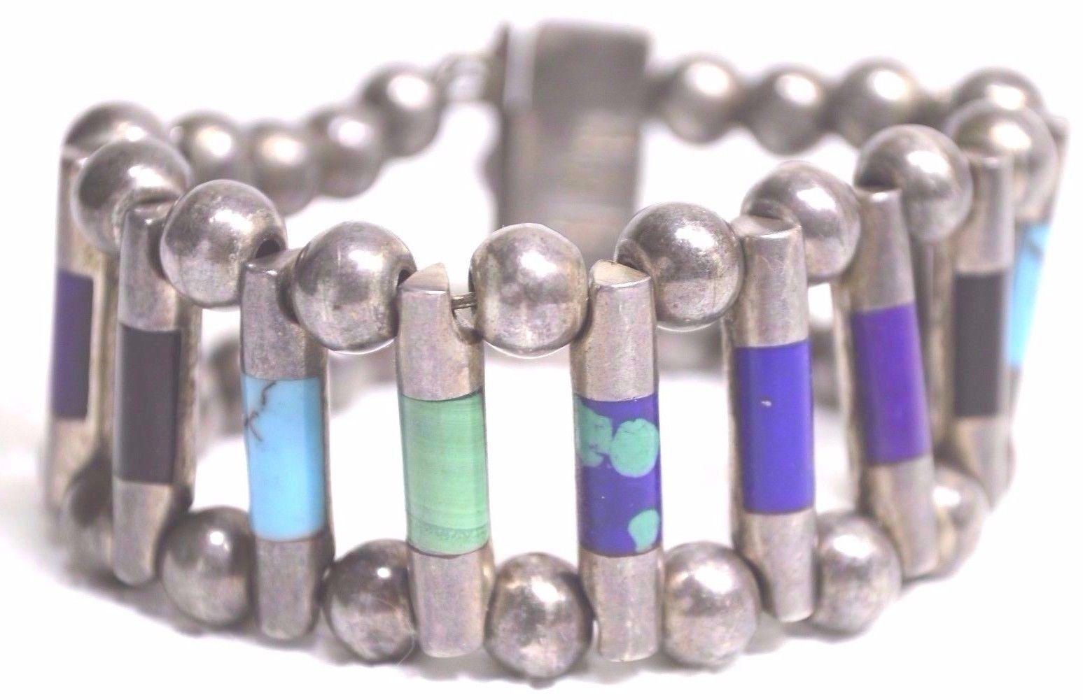 Bracelet .950 sterling turquoise lapis sugilite onyx malachite Mexico Taxco