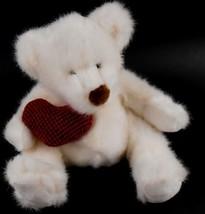 "Bear Hugs White Bear with Red Heart Russ Berrie 8"" tall sitting Stuffed Animal - $6.78"