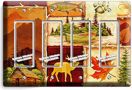 Hunting Cabin Fishing Moose Patchwork 4 Gfci Light Switch Wall Plates Room Decor - $21.99