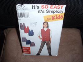 Simplicity 7815  Kids Lined Vest, Pants and Shorts  Size  7 -14  New- Uncut - $6.00