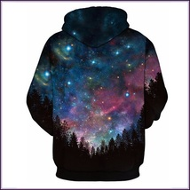 Night Forest Blue Painted Universe Long Sleeve Cotton Pullover Hoodie Sweatshirt image 2