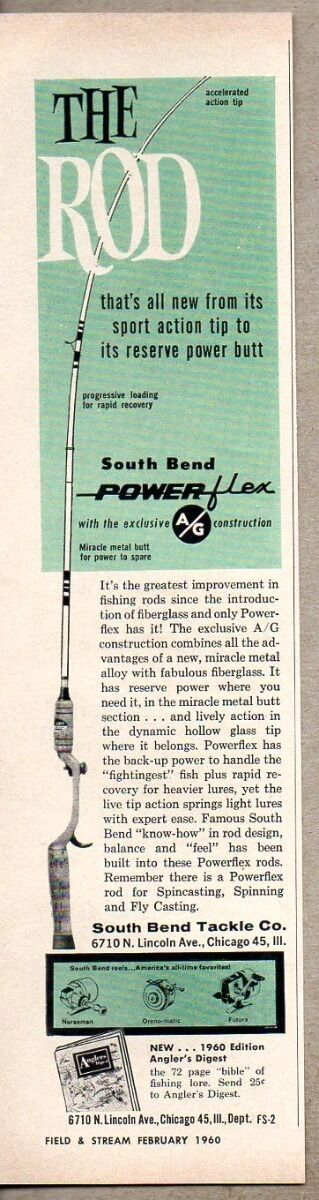 Primary image for 1960 Print Ad South Bend Power-Flex Fishing Rods Chicago,IL