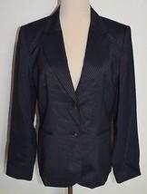 Talbots Sz 8 Blazer Wool Silk Blue Pinstriped Button Long Sleeve Lined Jacket - $17.74