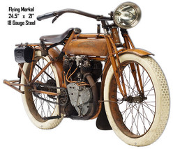 Flying Merkel Laser Cut Out Reproduction Motorcycle Metal Sign 21x24.5 - $65.34