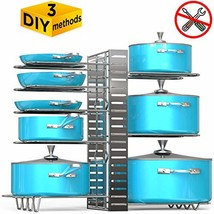 VDOMUS Pan Organizer Rack with 3 DIY Methods, Height Adjustable Kitchen ... - $41.00