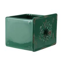 Napco 5.5� Dark Green Distressed Finish Decorative Square Drawer Planter - ₹1,068.13 INR