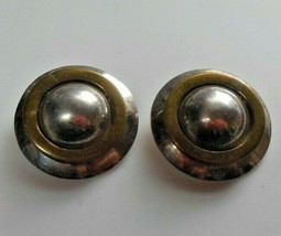 Vintage Stamped 925 Mexico Two-tone Round Dome Clip-on Earrings - $65.00