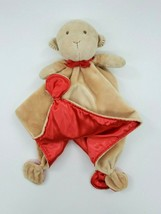 Carters Monkey Baby Lovey Security Blanket Rattle Red Tan Satin Boy Girl... - $14.99