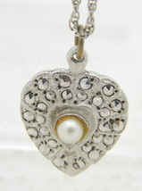 VTG .925 Sterling Silver Marcasite Faux Pearl Heart Pendant Necklace - $39.60