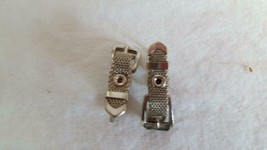 NICE VINTAGE PUNK SILVERTONE BUCKLE CLIP ON EARRINGS, UNIQUE, ADORABLE, ... - $6.39