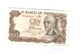 1970 BANCO NATIONAL DE ESPANA CIEN PESETAS BANK NOTE - $4.95