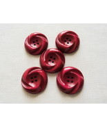 Large Round 4-Hole Dark Fuchsia Pink Red Swirl Pattern Buttons-Free Ship... - $6.00