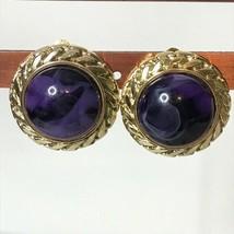 "Vintage Goldtone Purple Clip On Earrings Approx 1"" - $17.82"
