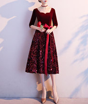 Burgundy Wine Red Half Sleeve Velvet Midi Dress High Waist Bridesmaid Midi Dress image 3