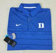 Nike Dry Duke Blue Devils Logo Striped Polo Shirt On Field Apparel Mens ... - $45.44