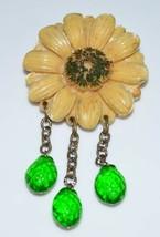 VTG Celluloid Sunflower Green Glass Dangle Pin Brooch - $39.60