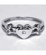 Diamond Heart Shape Promise Band Ring Womens 14K White Gold Bezel Set Cu... - $299.00