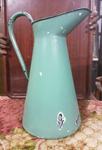 English Enamel Pitcher Water Jug Large Green Ov... - $37.05