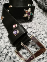 Vintage Express black belt jewels & starfish M Medium - $19.00