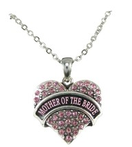 Mother of the Bride Pink Crystal Heart Silver Necklace Jewelry Wedding Gift - $14.72
