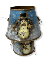 Home Interiors Metal Pillar Candle Holder Snowman Decorative Holiday  - $12.95