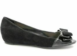 Franco Sarto Moreen Women Peep Toe Ballet Flats US 6.5 Black Suede - $18.46