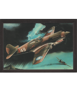 """4"""" X 6"""" Wooden Plaque with a Painting of a Curtiss P-40B (Tomahawk) over... - $7.87"""