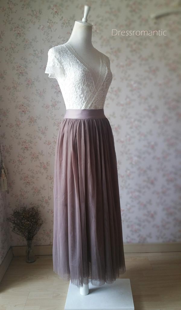 COFFEE High Waisted Plus Size Maxi Skirt Floor Length Bridesmaid Tulle Skirt NWT image 3